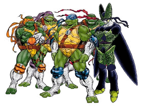 Fotomontaggi cell e le tartarughe ninja